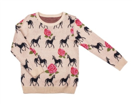 Unicorn and roses sweater, $42.