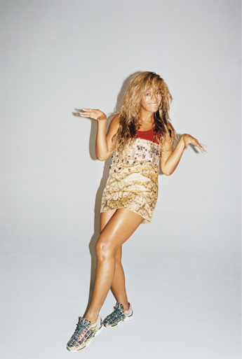 Beyoncé wears a Miu Miu dress and Chanel sneakers. Photo: Juergen Teller/T, The New York Times Magazine