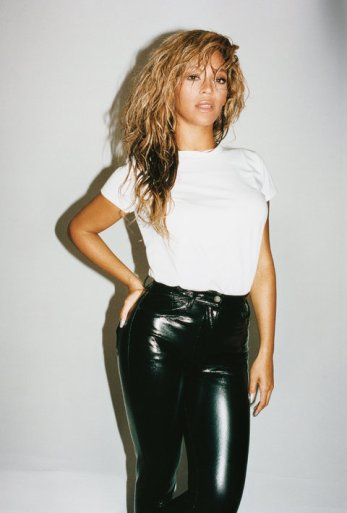 Beyoncé wears a Vince T-shirt and Louis Vuitton pants. Photo: Juergen Teller/T, The New York Times Magazine