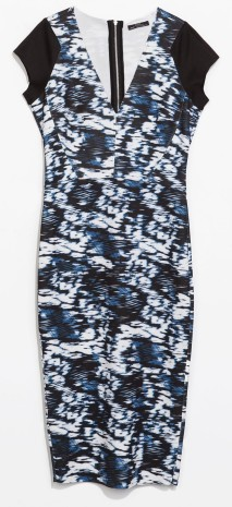 Zara printed zip back tube dress