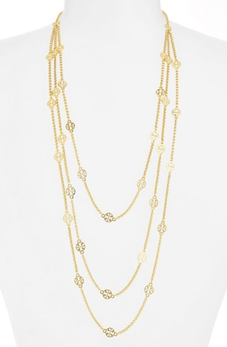 Tory Burch Long Multistrand Logo Station Necklace
