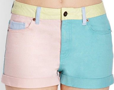 Forever 21 Color-Blocked Denim Shorts