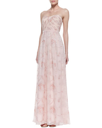 Erin by Erin Fetherston Strapless Floral Ruched-Bodice Gown