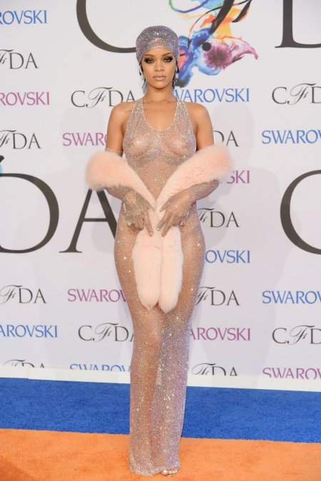 Rihanna in a custom-designed dress and headpiece by Adam Selman. Photo: Hollywood Reporter