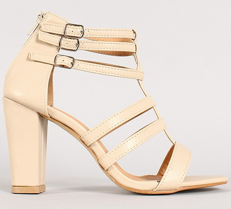Urban Original Vibe-2 Strappy Buckle Open Toe Heel