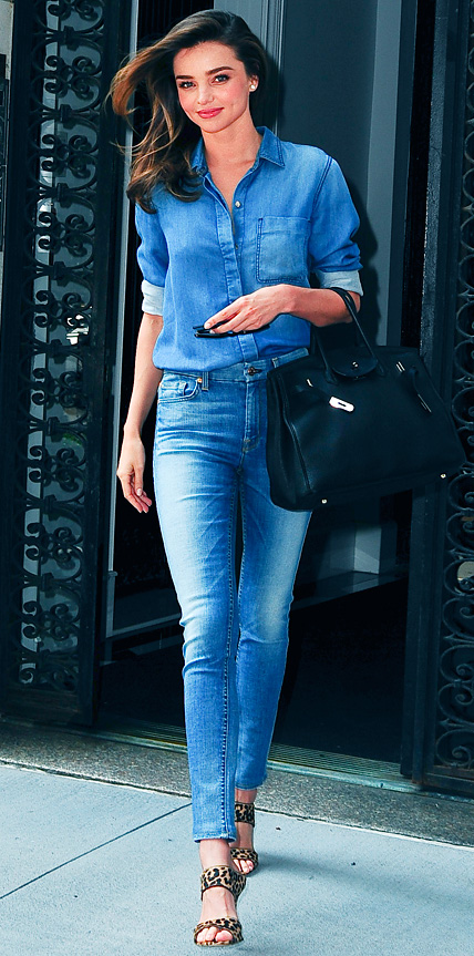 SHE'S A STANDOUT: Miranda Kerr Brings Back the '90s In An All-Denim Duo