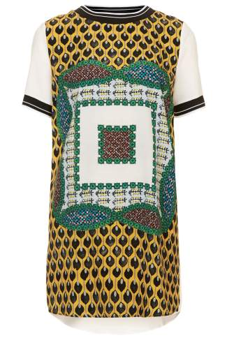 Scarf Placement Print Tunic Dress