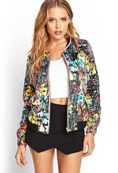 Tropical Print Bomber Jacket