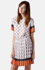 Topshop Ditsy Print Pleat Shift Dress