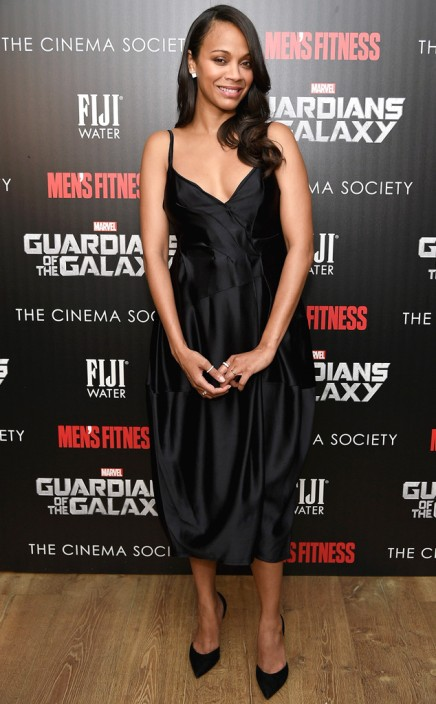 "SHE'S A STANDOUT — A Pregnant Zoe Saldana Rocks a Hepburn Silhouette at a ""Guardians of the Galaxy"" Screening"