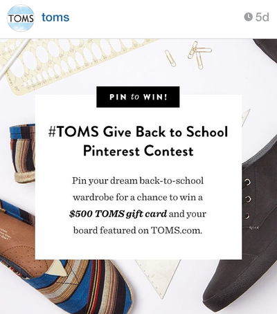 Toms Promotes Pinterest Back-To-School Campaign, Increases Their Following In the Process