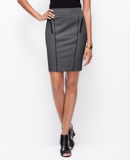 BUY THIS ONE THING — Ann Taylor's Faux Leather Trim Pencil Skirt