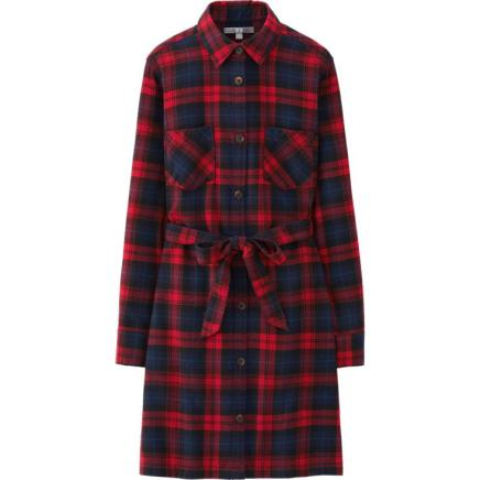 BUY THIS ONE THING — Uniqlo Flannel Check Long Sleeve Shirt Dress